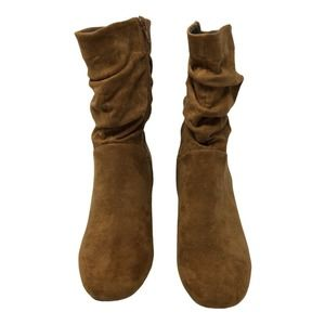 Lane Bryant Slouched Faux Suede Camel Boot 7W